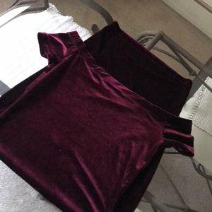 Cranberry Velvet Off the Shoulder Dress